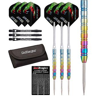 Red Dragon Peter Wright Snakebite 1: 24g - 85% Tungsten Steel Darts with Flights, Shafts, Wallet & Red Dragon Checkout Card
