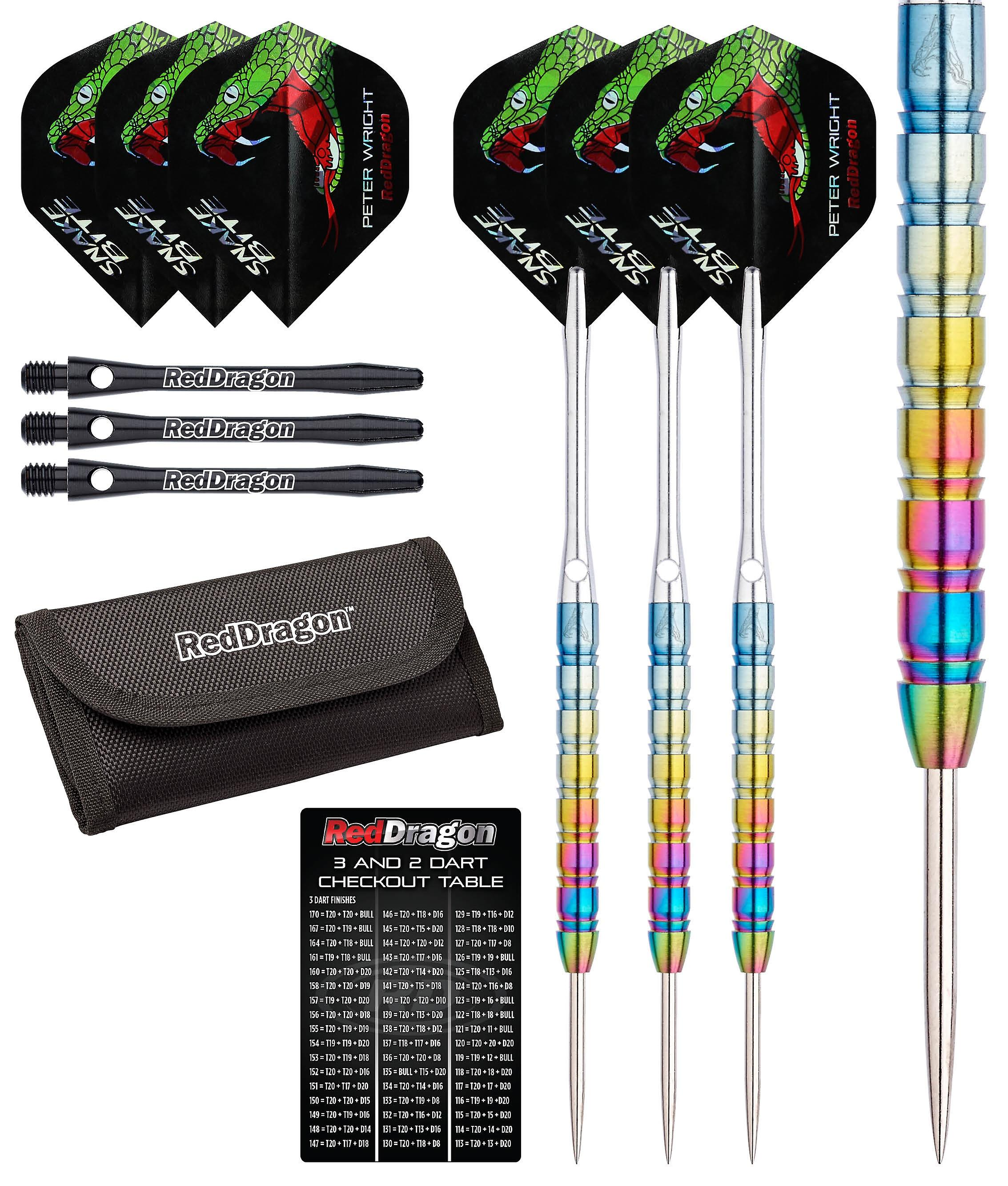 Red Dragon Peter Wright Snakebite 1: 22g - 85% Tungsten Steel Darts with Flights, Shafts, Wallet & Red Dragon Checkout Card