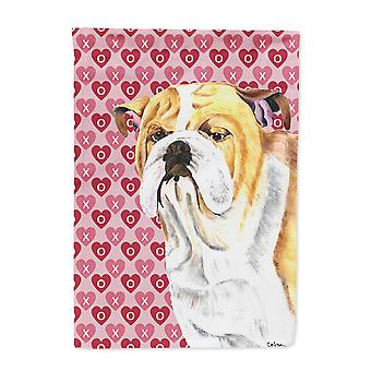 Carolines Treasures  SC9265-FLAG-PARENT Bulldog English Hearts Love Valentine's