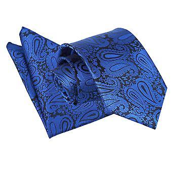 Cravatta con motivo cachemire blu Royal & Set Square Pocket