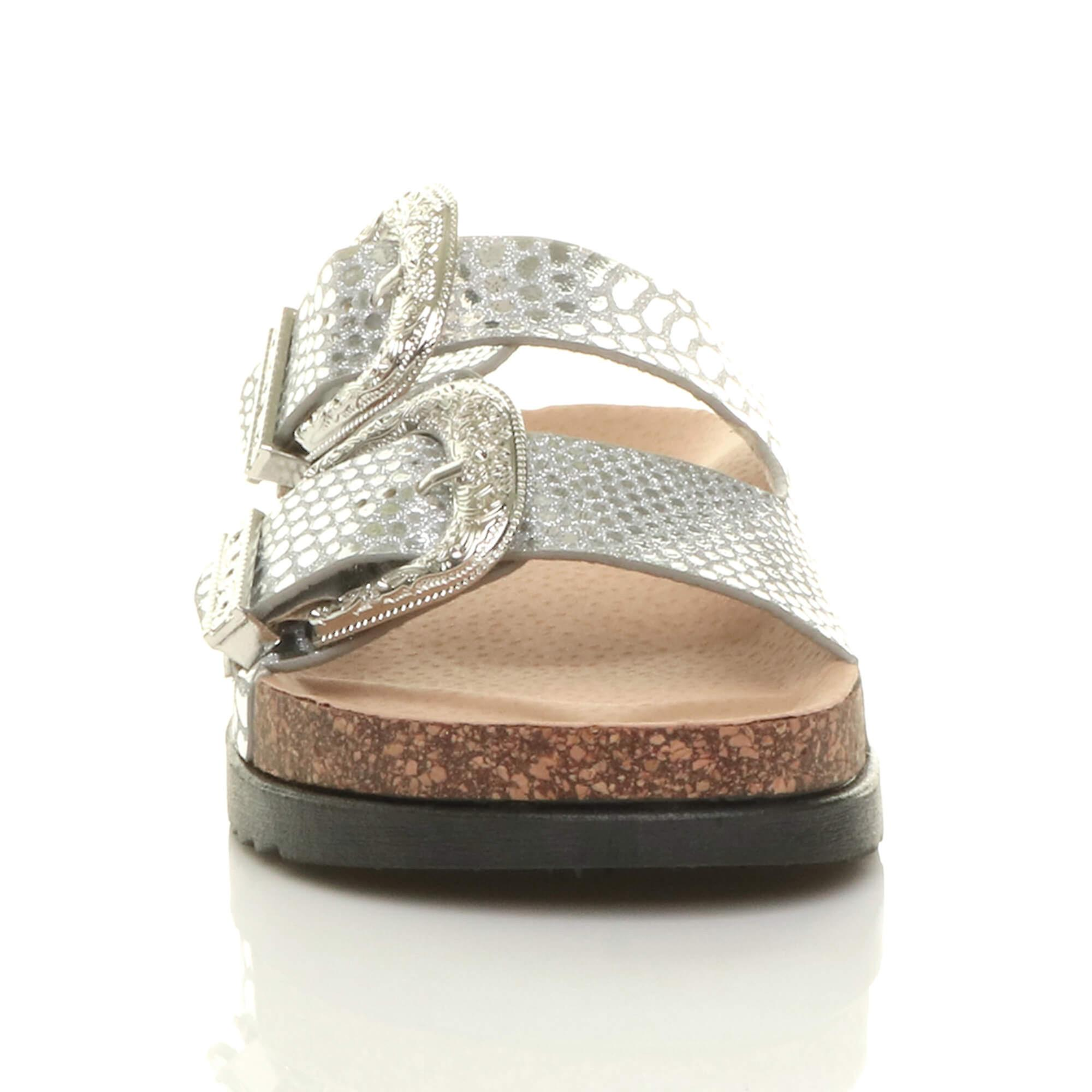 Ajvani womens flat flatform western buckle strappy slip on slides cowboy platform sliders sandals flip flops