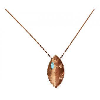 GEMSHINE halskæde vedhæng solid 925 sølv Rose forgyldt med blå topas