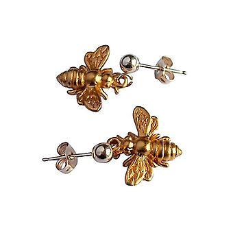 Abeja - oro 1,5 cm plateado damas - Pendientes - plata 925 - abeja-