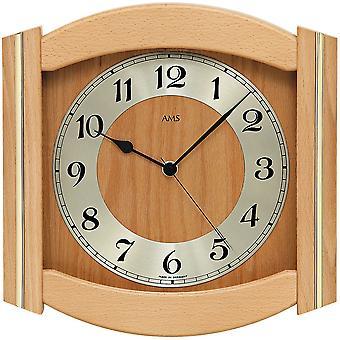 rustic wall clock light wood wall clock radio mineral glass solid beech