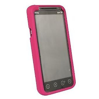 Sprint Marque HTC Evo 3D Protective Cover Silicone Rubber Gel Skin Case - Raspberry Pink