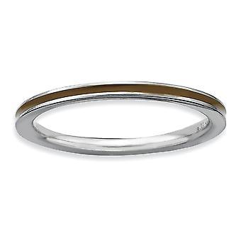 925 sterlinghopea kiillotettu rhodium kullattu pinottava ilmaisuja ruskea emaloitu 1,5 mm rengas korut lahjat naisille - Ri
