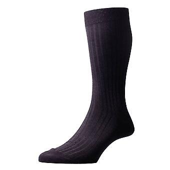 Pantherella Danvers Rib Cotton Lisle Socks - Dark Grey Mix