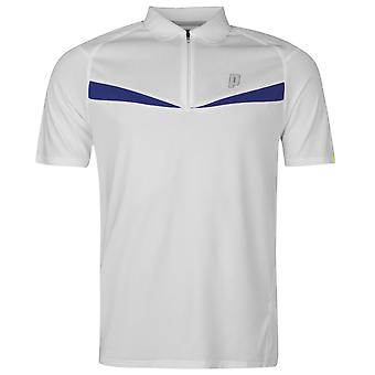 Prince Mens Half Zip Dart Panel Polo Shirt Short Sleeve Performance Breathable