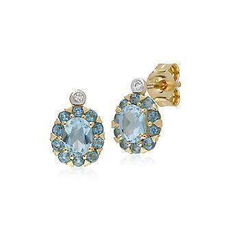 Pendientes de topacio azul redondo y diamantes aretes en oro amarillo de 9 qt 135E1572059