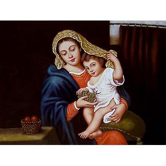 Madonna, oliemaleri på lærred, 30x40 cm