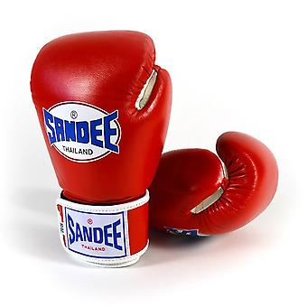 Sandee Authentic Leather Boxing Gloves Red