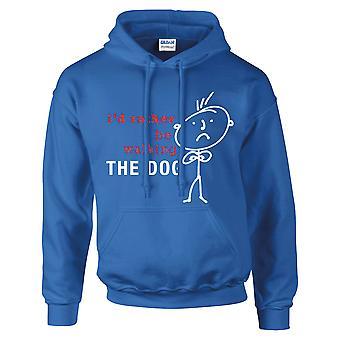 Mäns jag skulle hellre gå hund Hoodie Royal blå Hoody