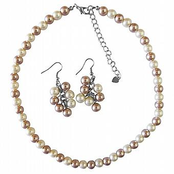 Tanie wesele modne perły Komplet Naszyjnik szampana & Ivory