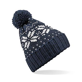 Kids Patterned Wooly Beanie Bobble Hat Nordic Design Available in Red, Pink, Navy Blue or Sapphire Blue