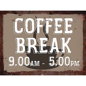 Vintage Metal Wall Sign - Coffee Break