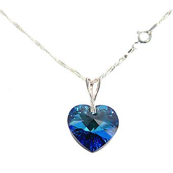 Women's Hand Finished Sterling Silver Necklace With Crystals From Swarovski 18mm