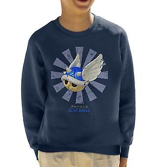 Camisola azul Shell retro japonês Mario Kid ' s