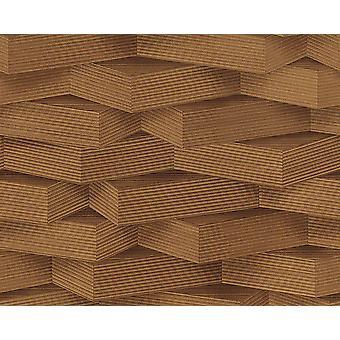 3D patroon behang hout effect geometrische blokken donker bruin plakken muur vinyl