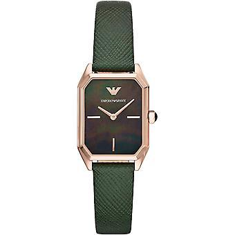 Emporio Armani Ar11149 duas mãos de couro verde senhoras relógios