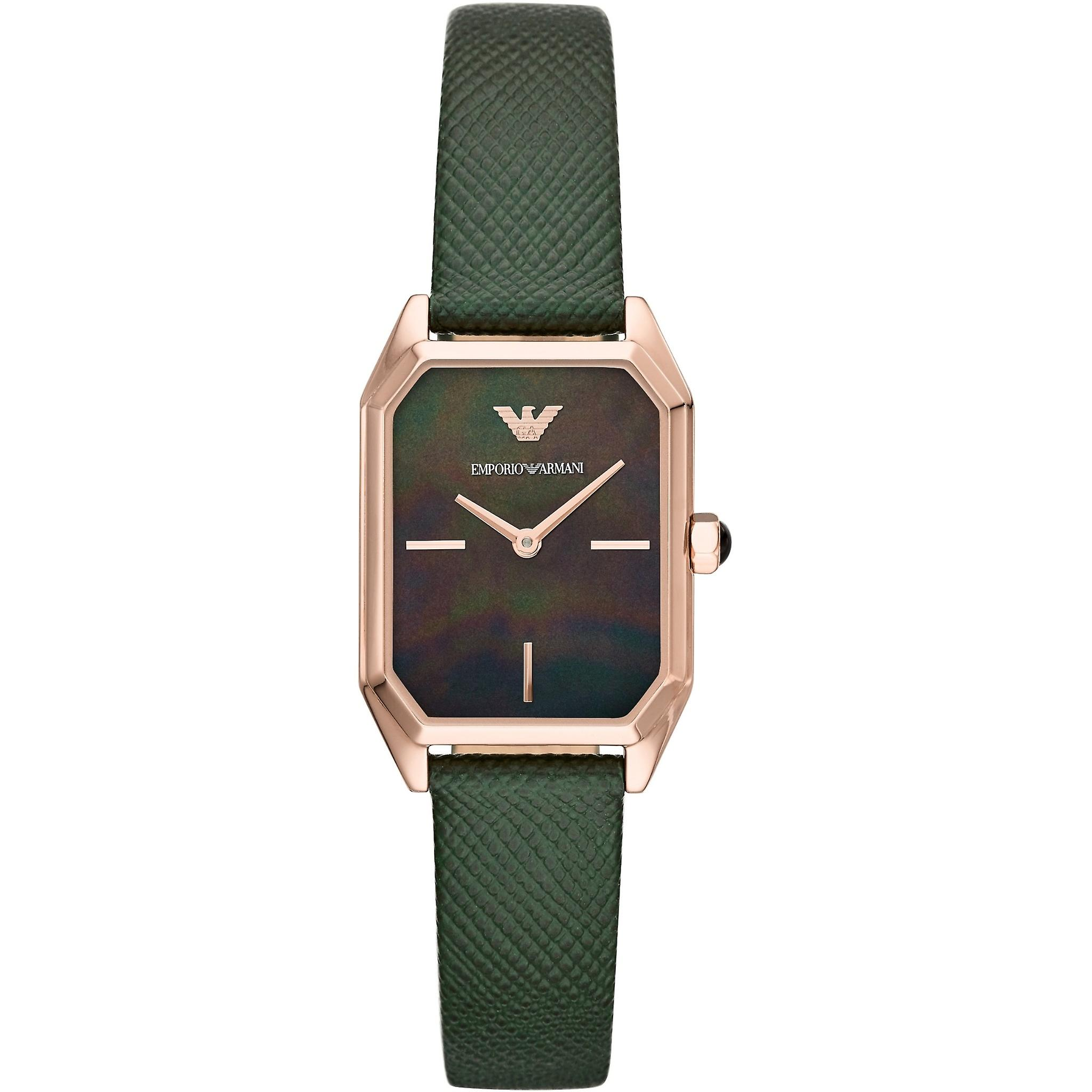 Emporio Armani Ar11149 Two-hand Green Leather Ladies Watches