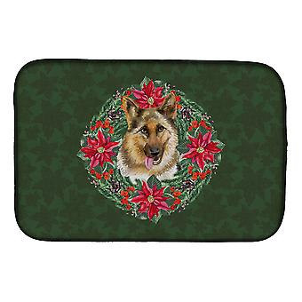 Carolines Treasures  CK1520DDM German Shepherd Poinsetta Wreath Dish Drying Mat