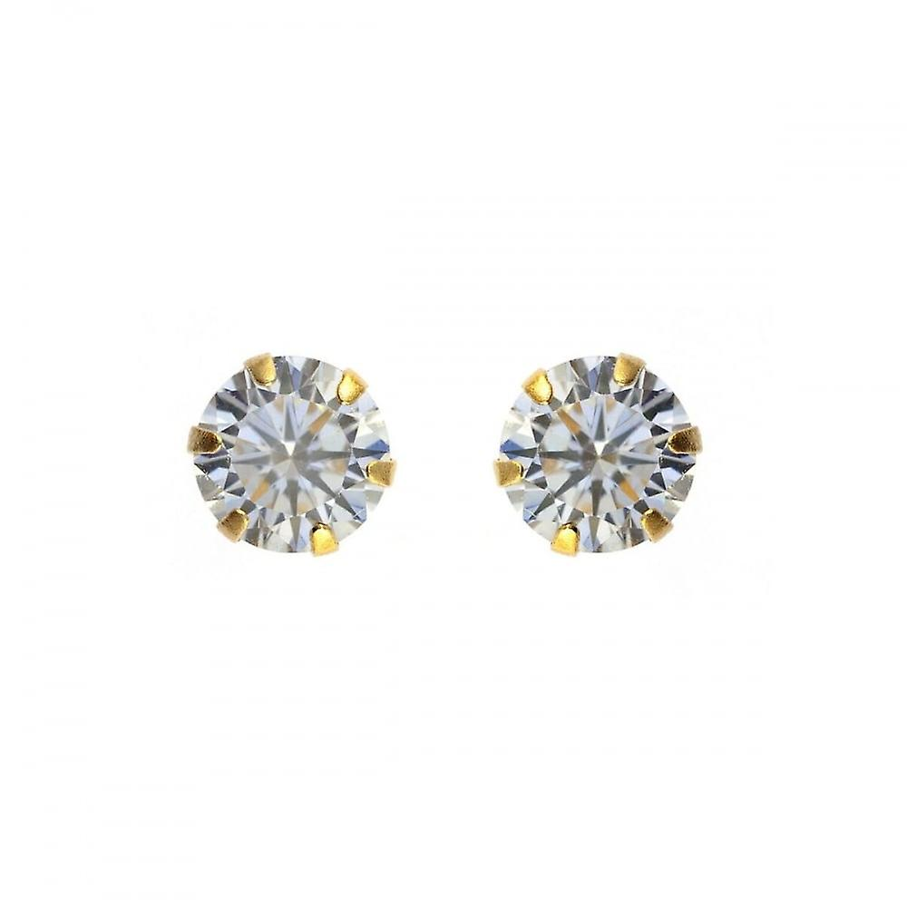 Eternity 9ct Gold 7mm Round Cubic Zirconia Stud Earrings