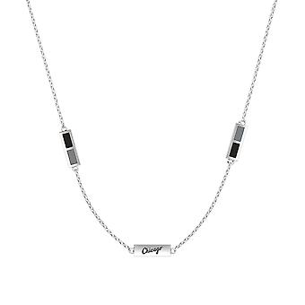 Chicago White Sox Sterling Silver Engraved Triple Station Necklace In Black and Grey