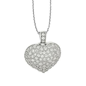 ORPHELIA CHAIN WITH PENDANT HEART 925 SILVER WITH PAVE ZIRCONIUM