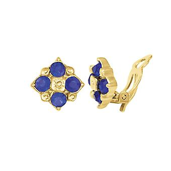 Eternal Collection Exquisite Deep Sapphire Blue Crystal Gold Tone Stud Clip On Earrings
