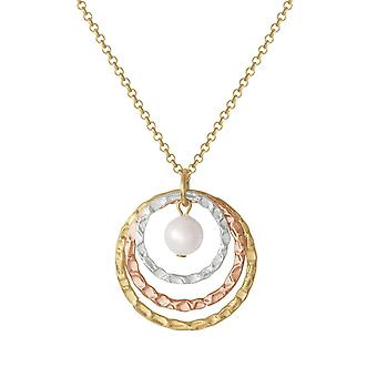 Eternal Collection Wishes Three Tone Gold And Shell Pearl Pendant Necklace