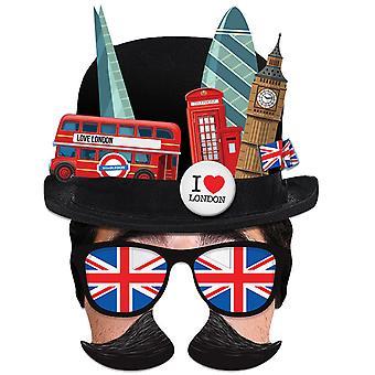 London Tourist Bowler Hat Single 2D Card Party Half Fancy Dress Mask