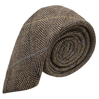 Luksusowy orzech jodełkę brązowy wyboru krawat, Tweed