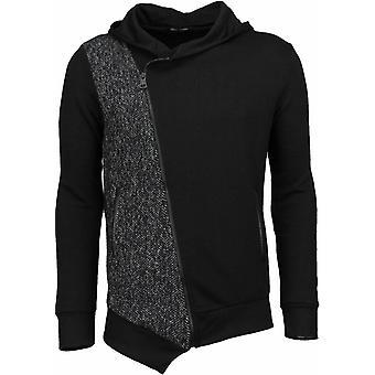 Casual Vest-Long Slant zipper-Preto