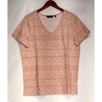 C. Wonder Top V-Neck Short Sleeve Printed Knit Dusty Rose Pink A275677