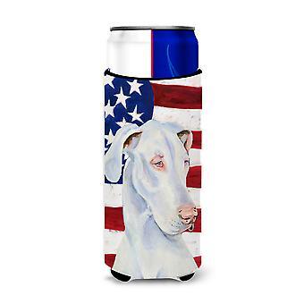 Bandera Americana de EE.UU. con grandes aisladores de bebidas danesas ultra para latas delgadas LH9026