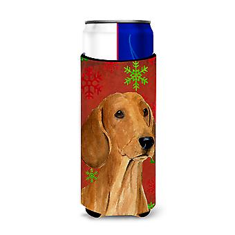 Dachshund Red and Green Snowflakes Holiday Christmas Ultra Beverage Insulators f