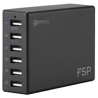 FSP Amport 62 6 Ports USB 62W QC 3.0 Black Quick Charger