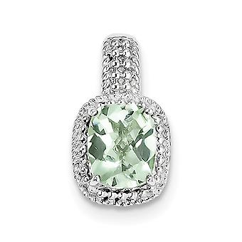 925 Sterling Silver Textured Polished Prong set Rhodium-plated Fancy cut-out back Green Quartz Pendant