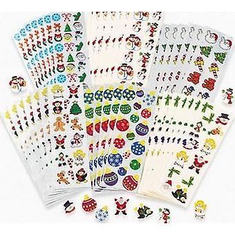 100 jul klistermärke ark för barn hantverk | Barn jul klistermärken