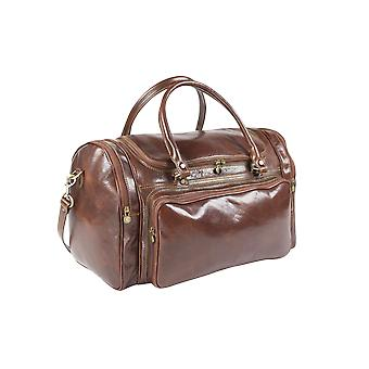 Italian Leather Traditional Holdall Travel Bag Overnight Duffel Unisex Brown