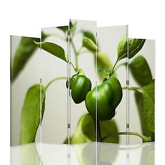 Divisor de habitación decorativa, 5 paneles, lona, pimientos verdes