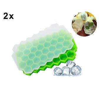 Ice Cube Mold Silicone with Lid Ice Cube Tray 2 Pieces Ice Cube Tray Ice Maker BPA-Free 37x Ice CubeS for Whiskey Cocktail Baby Food Juice