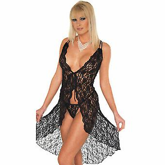 Amorable' by Rimba Lingerie Black Floral Lace Nightdress with G-String