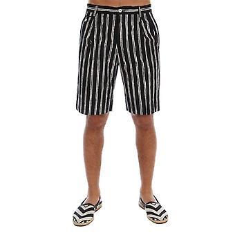 White Black Striped Cotton Shorts -- PAN6682736