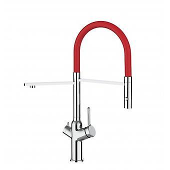 3-weg keuken filter gootsteen mixer met rode uitloop en 2 straal spray, werkt met alle water filtersysteem-376