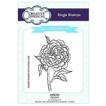 Langage de Expressions créatives John Lockwood des fleurs A5 Clear Stamp Set - CEC832 pivoine
