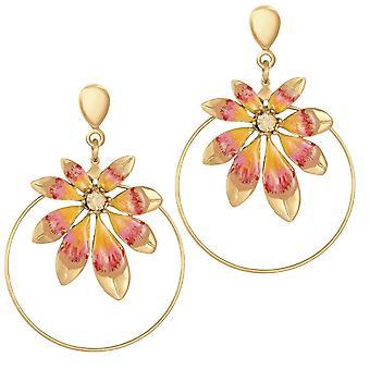 Eternal Collection Biarritz Orange Enamel Gold Tone Drop Hoop Clip On Earrings