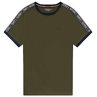 Tommy Hilfiger Logo Tape Crew Neck T-Shirt, Olive Night Green, X-Large