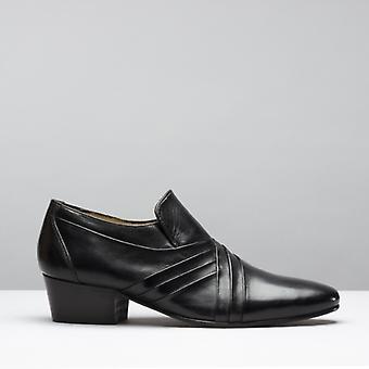 Club Cubano Luigi Mens Leather Cuban Heel Shoes Black