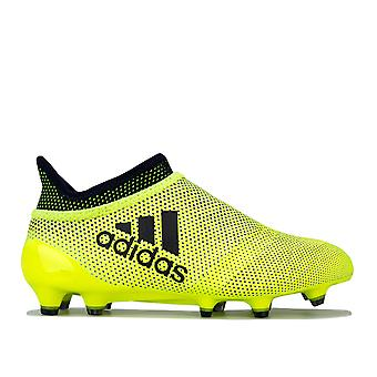 Junior Boys adidas X 17MD Purespeed Fg Football Boots In Yellow- Lace Fastening-